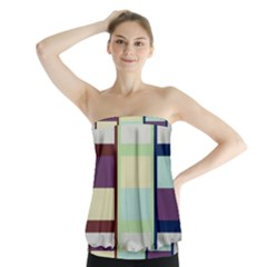 Maximum Color Rainbow Brown Blue Purple Grey Plaid Flag Strapless Top