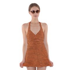 Illustration Orange Grains Line Halter Swimsuit Dress