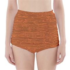 Illustration Orange Grains Line High-Waisted Bikini Bottoms