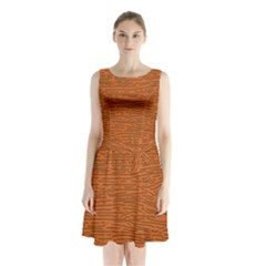 Illustration Orange Grains Line Sleeveless Chiffon Waist Tie Dress