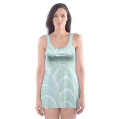 Leaf Blue Skater Dress Swimsuit