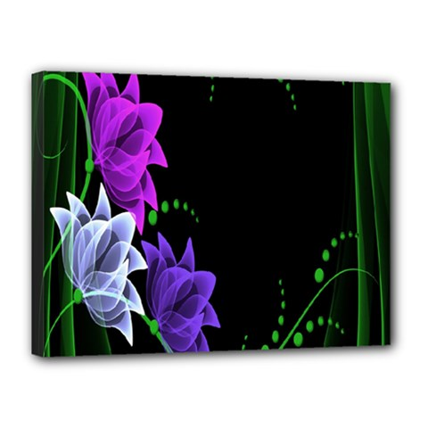 Neon Flowers Floral Rose Light Green Purple White Pink Sexy Canvas 16  X 12