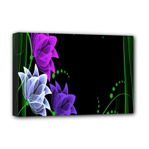 Neon Flowers Floral Rose Light Green Purple White Pink Sexy Deluxe Canvas 18  X 12