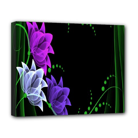 Neon Flowers Floral Rose Light Green Purple White Pink Sexy Deluxe Canvas 20  x 16