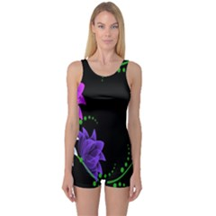 Neon Flowers Floral Rose Light Green Purple White Pink Sexy One Piece Boyleg Swimsuit