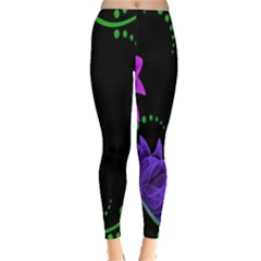 Neon Flowers Floral Rose Light Green Purple White Pink Sexy Leggings