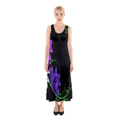 Neon Flowers Floral Rose Light Green Purple White Pink Sexy Sleeveless Maxi Dress