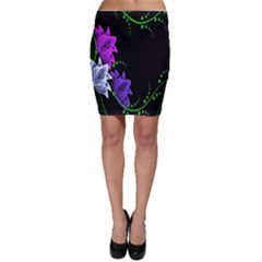 Neon Flowers Floral Rose Light Green Purple White Pink Sexy Bodycon Skirt