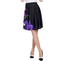 Neon Flowers Floral Rose Light Green Purple White Pink Sexy A-Line Skirt