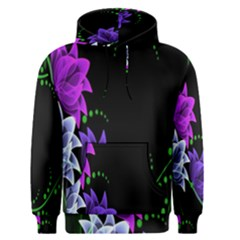 Neon Flowers Floral Rose Light Green Purple White Pink Sexy Men s Pullover Hoodie
