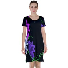 Neon Flowers Floral Rose Light Green Purple White Pink Sexy Short Sleeve Nightdress