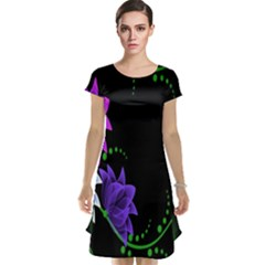 Neon Flowers Floral Rose Light Green Purple White Pink Sexy Cap Sleeve Nightdress