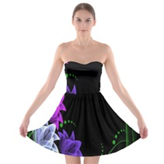 Neon Flowers Floral Rose Light Green Purple White Pink Sexy Strapless Bra Top Dress