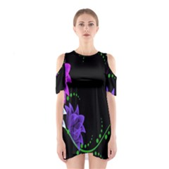 Neon Flowers Floral Rose Light Green Purple White Pink Sexy Shoulder Cutout One Piece