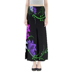 Neon Flowers Floral Rose Light Green Purple White Pink Sexy Maxi Skirts