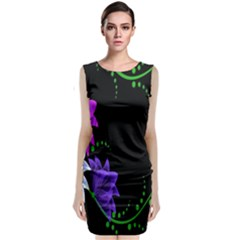 Neon Flowers Floral Rose Light Green Purple White Pink Sexy Classic Sleeveless Midi Dress