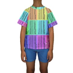 Multiplication Printable Table Color Rainbow Kids  Short Sleeve Swimwear