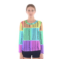 Multiplication Printable Table Color Rainbow Women s Long Sleeve Tee