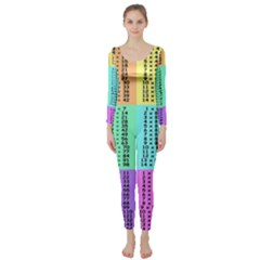 Multiplication Printable Table Color Rainbow Long Sleeve Catsuit