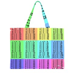 Multiplication Printable Table Color Rainbow Zipper Large Tote Bag
