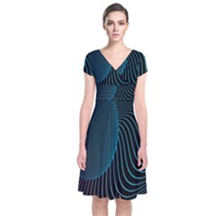 Line Light Blue Green Purple Circle Hole Wave Waves Short Sleeve Front Wrap Dress