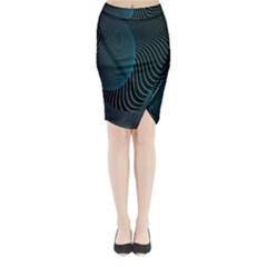 Line Light Blue Green Purple Circle Hole Wave Waves Midi Wrap Pencil Skirt