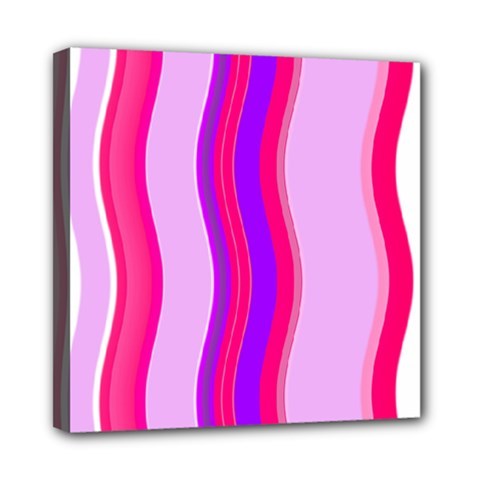 Pink Wave Purple Line Light Mini Canvas 8  X 8
