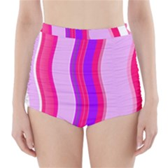 Pink Wave Purple Line Light High-Waisted Bikini Bottoms