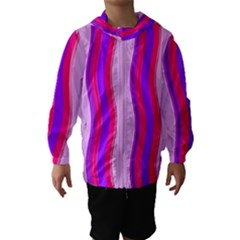 Pink Wave Purple Line Light Hooded Wind Breaker (Kids)