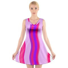 Pink Wave Purple Line Light V Neck Sleeveless Skater Dress