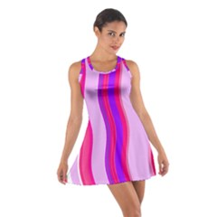 Pink Wave Purple Line Light Cotton Racerback Dress