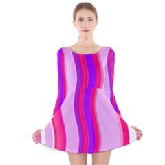 Pink Wave Purple Line Light Long Sleeve Velvet Skater Dress