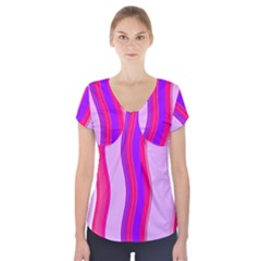 Pink Wave Purple Line Light Short Sleeve Front Detail Top
