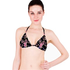 Neon Flowers Rose Sunflower Pink Purple Black Bikini Top