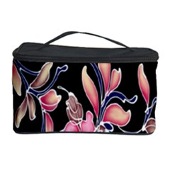 Neon Flowers Rose Sunflower Pink Purple Black Cosmetic Storage Case