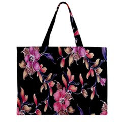 Neon Flowers Rose Sunflower Pink Purple Black Zipper Mini Tote Bag
