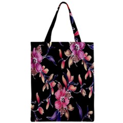 Neon Flowers Rose Sunflower Pink Purple Black Zipper Classic Tote Bag