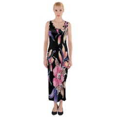Neon Flowers Rose Sunflower Pink Purple Black Fitted Maxi Dress