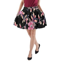 Neon Flowers Rose Sunflower Pink Purple Black A-Line Pocket Skirt