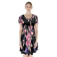 Neon Flowers Rose Sunflower Pink Purple Black Short Sleeve V-neck Flare Dress