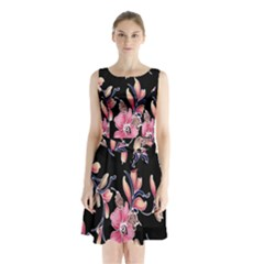 Neon Flowers Rose Sunflower Pink Purple Black Sleeveless Chiffon Waist Tie Dress