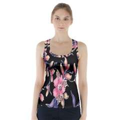 Neon Flowers Rose Sunflower Pink Purple Black Racer Back Sports Top
