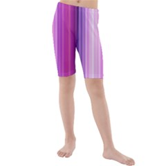 Pink Vertical Color Rainbow Purple Red Pink Line Kids  Mid Length Swim Shorts