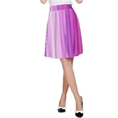 Pink Vertical Color Rainbow Purple Red Pink Line A-Line Skirt