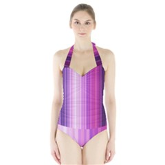 Pink Vertical Color Rainbow Purple Red Pink Line Halter Swimsuit