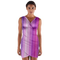Pink Vertical Color Rainbow Purple Red Pink Line Wrap Front Bodycon Dress