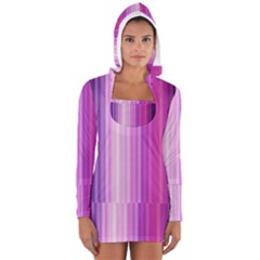 Pink Vertical Color Rainbow Purple Red Pink Line Women s Long Sleeve Hooded T-shirt