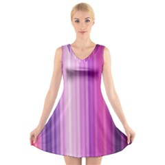 Pink Vertical Color Rainbow Purple Red Pink Line V Neck Sleeveless Skater Dress