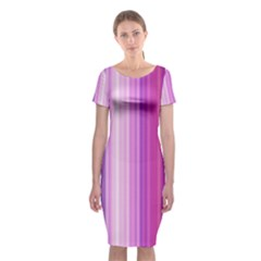 Pink Vertical Color Rainbow Purple Red Pink Line Classic Short Sleeve Midi Dress