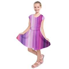 Pink Vertical Color Rainbow Purple Red Pink Line Kids  Short Sleeve Dress